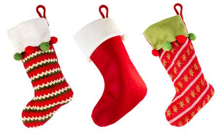 Weihnachtsstrumpf lokalisiert auf weißem Hintergrund Standard-Bild