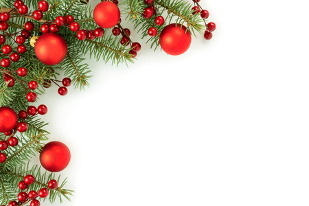 Christmas border isolated on white background 스톡 콘텐츠