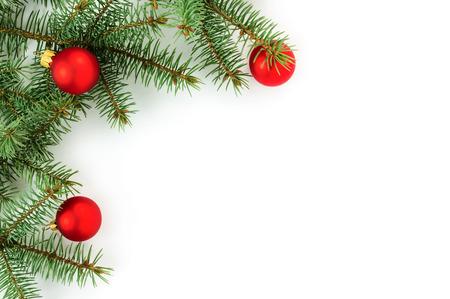 christmas beads: Christmas border isolated on white background Stock Photo