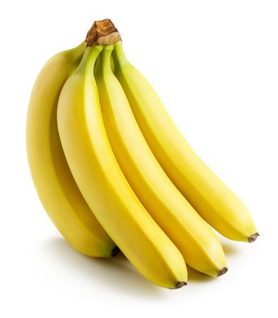 Fresh bunch of bananas isolated on white background