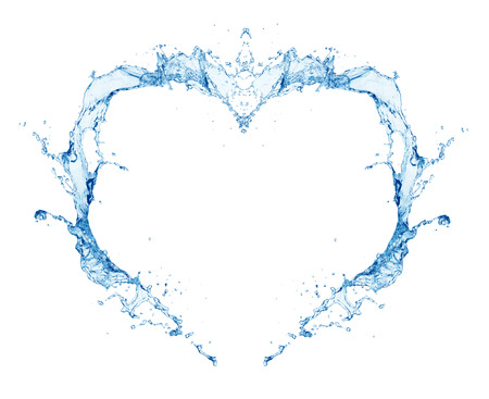 Water heart isolated on white