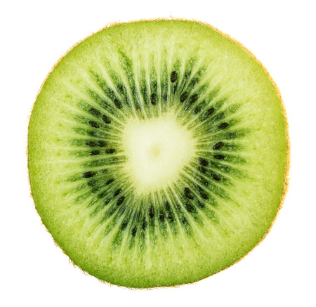 Fresh green kiwi slice isolated on white background photo