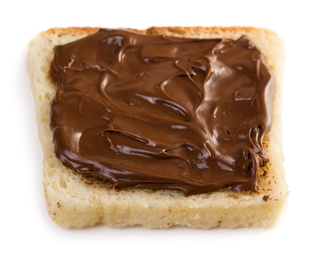 sandwich spread: Toast with chocolate spread isolated on white background Stock Photo