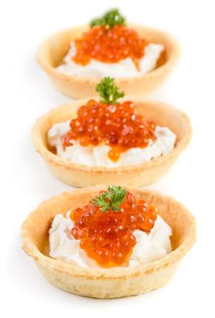 Caviar snacks isolated on white background photo