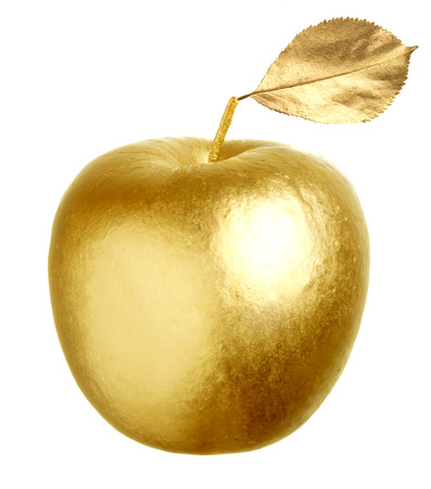 golden apple: Gold apple isolated on white background