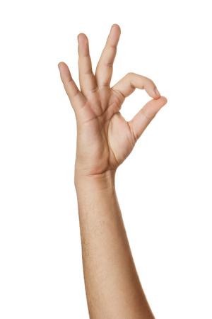 Hand OK sign isolated on white background photo