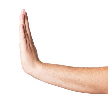 白い背景で隔離の手を停止します。