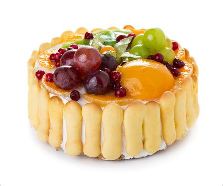 Torta de la jalea de frutas aisladas sobre fondo blanco