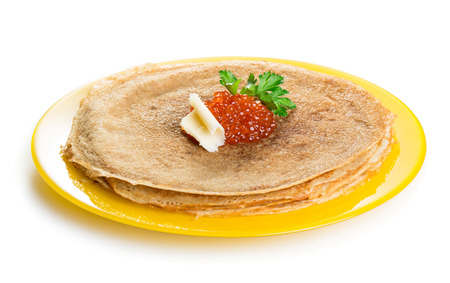 pancake week: Pancakes with red caviar isolated on white background Stock Photo