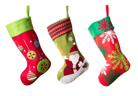 three presents: Three Christmas stockings isolated on white background Stock Photo