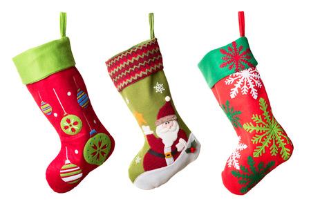 Three Christmas stockings isolated on white background Archivio Fotografico