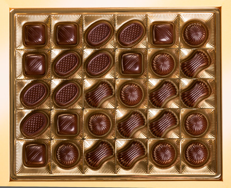 A box of various chocolate candies