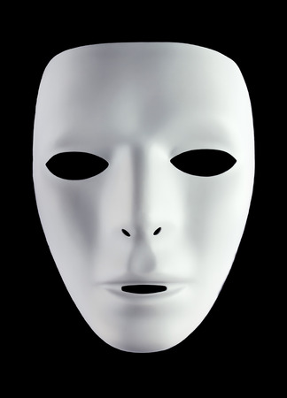 disguises: White mask for drama isolated on black background