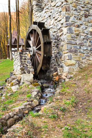 grist mill: Stone watermill, spring, Carpathians