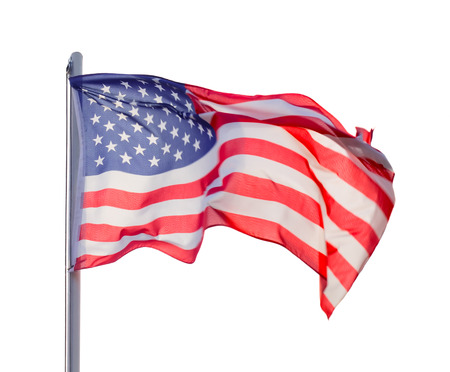 bandera blanca: Bandera EE.UU. aislados sobre fondo blanco
