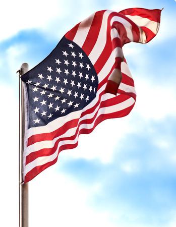 블루 애국 배경 위에 깃발 미국