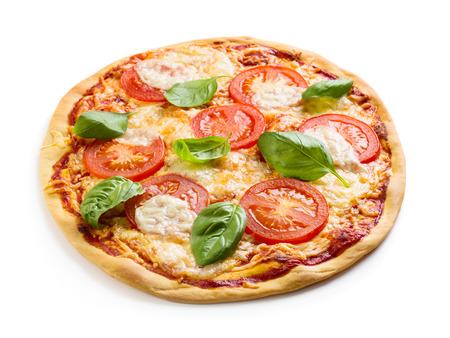 마르게리타 피자 흰색 배경 위에 절연