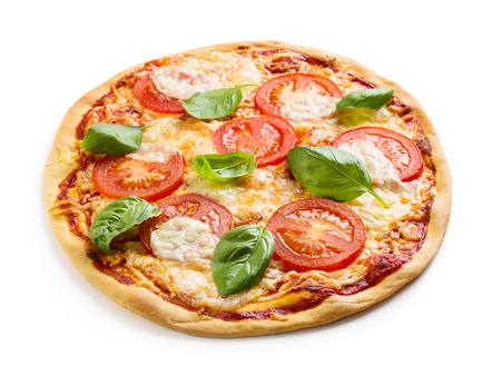 Margherita pizza isolated over white background