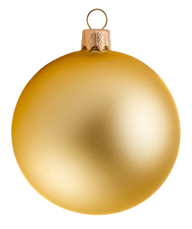 gold ornament: Glitter christmas ball isolated on white background