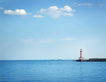 'black sea': Black sea lighthouse. Summer day Stock Photo