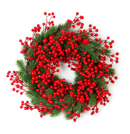 red green: Christmas wreath of holly berries and evergreen isolated on white background