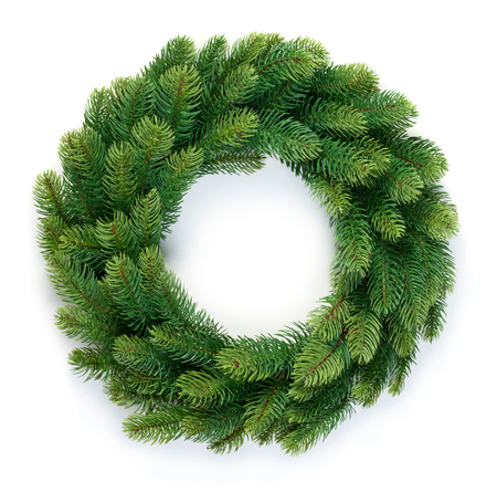 holiday garland: Christmas wreath of evergreen isolated on white background