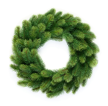 Traditional green christmas wreath isolated on white background