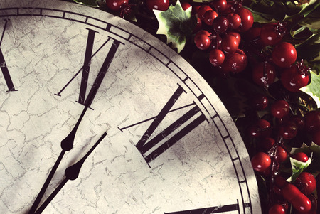wooden clock: Old wooden clock and Christmas decorations. New year concept