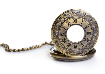 watch over: Old pocket watch isolated over white background