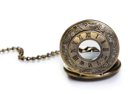 bronze background: Old bronze pocket watch isolated over white background Stock Photo