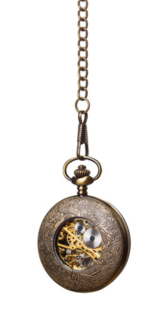 machine made: Old bronze pocket watch isolated over white background Stock Photo