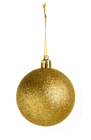 christmas sphere: Gold Christmas ball isolated on white background