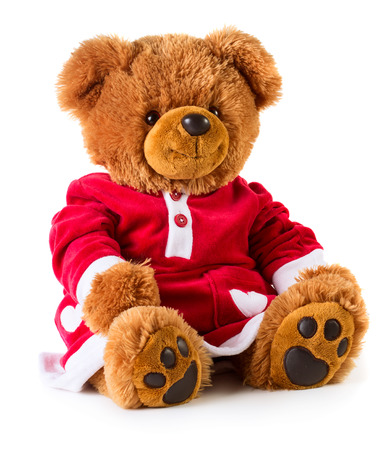 seasonal clothes: Christmas bear dressed like a girl. White background, isolated Stock Photo