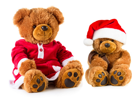 teddy: Teddy bears wearing a Christmas clothes isolated on white background. Mother and son