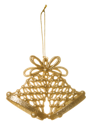 gold ornament: Christmas decoration: two bells isolated on white background