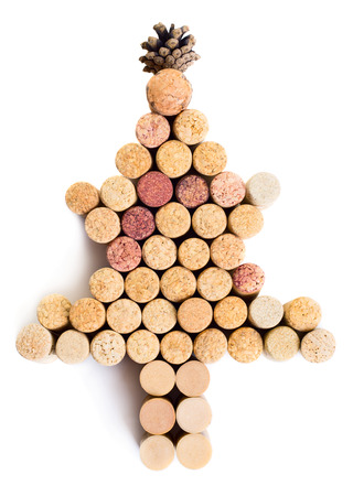 white christmas tree: Christmas tree made from wine cork isolated on white background