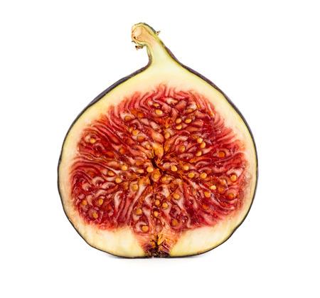 segmento: Slice of fresh ripe fig isolated on white background Foto de archivo