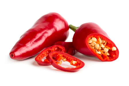 Red hot pepper met plakken op een witte achtergrond Stockfoto - 66361944
