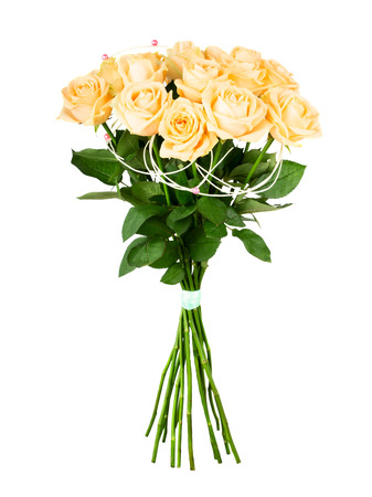 rosas blancas: Bouquet of delicate cream roses isolated on white background