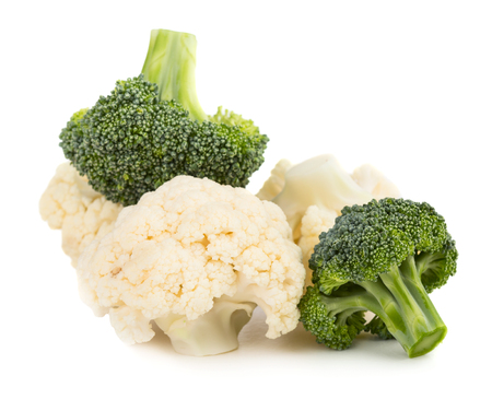Fresh ripe organic broccoli and cauliflower isolated on white background