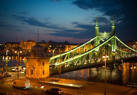 Beautiful Danube view. Liberty Bridge, Budapest - Hungary Reklamní fotografie