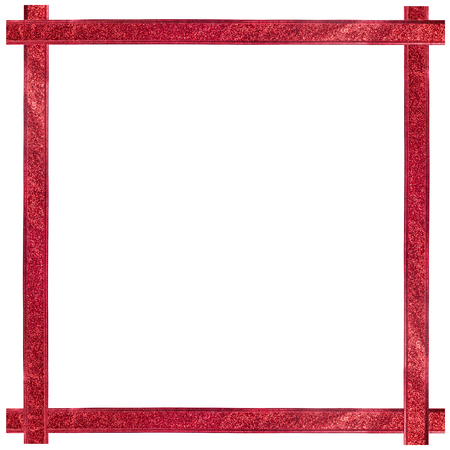 Red ribbon Christmas frame with copy space White background Reklamní fotografie