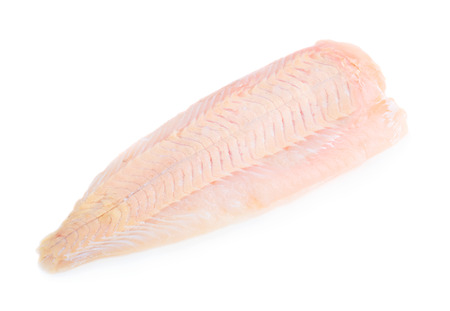Raw pangasius fish fillet isolated on white background Reklamní fotografie
