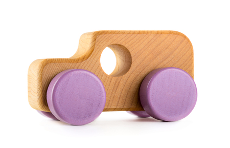 Toy wooden car isolated on white background Reklamní fotografie