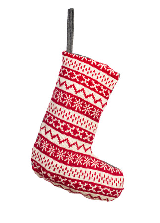 Red Christmas stocking isolated over white background Reklamní fotografie