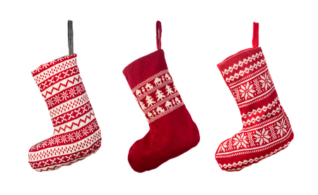 Red Christmas stocking isolated over white background Stock Photo