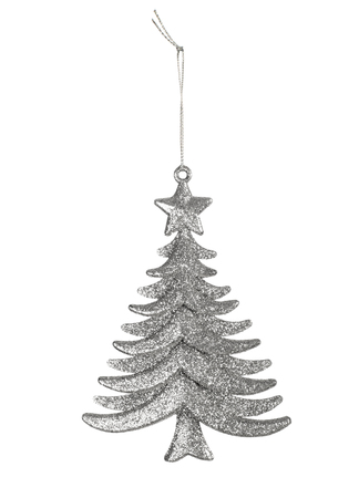 Decorative Christmas toy, silver tree isolated on white Reklamní fotografie