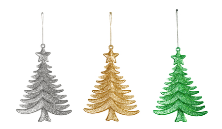 Decorative Christmas toys, three trees isolated on white background