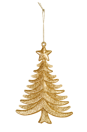 Decorative Christmas toy, golden tree isolated on white background