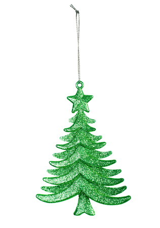 Decorative Christmas toy, green tree isolated on white